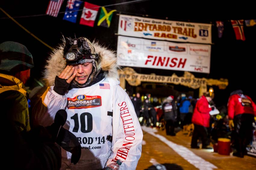 Aliy Zirkle becomes emotional after coming in second for the third time in as many years in the Iditarod Trail Sled Dog Race. Mar 11, 2014